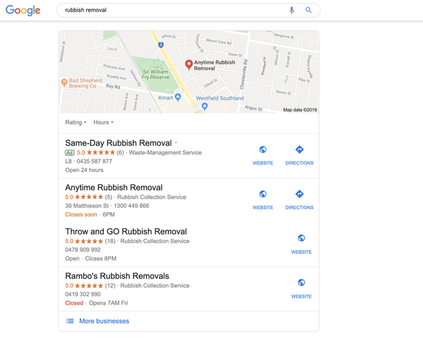 Google Listing for Rubbish Removal